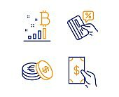 Credit card, Savings and Bitcoin graph icons set. Receive money sign. Vector