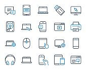 Mobile Devices line icons. Laptop, SSD and HDD. Vector
