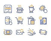 Coffee cup, Latte coffee and Heart rating icons set. Search mail, Skin care and Winner ticket signs. Vector