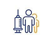 Medical vaccination line icon. Medicine vaccine sign. Pharmacy medication. Vector