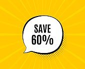 Save 60% off. Sale Discount offer price sign. Vector