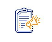 Megaphone checklist line icon. Advertisement device sign. Brand ambassador. Vector