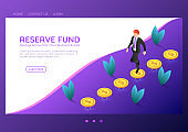Isometric web banner businessman walking on coins that floating above the floor