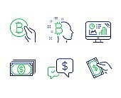 Bitcoin think, Payment and Analytics graph icons set. Bitcoin pay, Payment received and Pay money signs. Vector