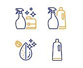 Cleanser spray, Shampoo and spray and Dirty water icons set. Shampoo sign. Vector