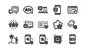 Feedback icons. User Opinion, Customer service and Star Rating. Classic icon set. Vector