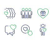 Romantic gift, Like button and Friendship icons set. Heart, Friends couple and Friend signs. Vector