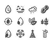 Set of Nature icons, such as Cold-pressed oil, Water glass, No alcohol. Vector