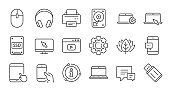 Device line icons. Laptop, SSD and Headphones. Linear icon set. Vector