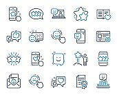 Feedback line icons. Set of User Opinion, Customer service and Star Rating. Vector