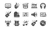 Music icons. Guitar, Musical note and Headphones. Classic icon set. Vector