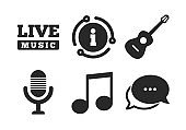 Musical elements icon. Microphone and guitar. Vector
