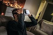 Man uses virtual glasses