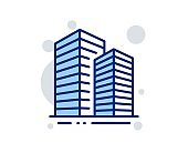 Skyscraper buildings line icon. City architecture sign. Town. Vector