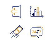 Diagram graph, Sign out and Fast payment icons set. 24/7 service sign. Vector