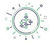 Block diagram line icon. Path scheme sign. Vector