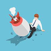 Isometric startup rocket crash on the floor between businessman leg