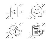 Search files, Smile face and Alarm bell icons set. Spanner sign. Magnifying glass, Chat, Time. Repair service. Vector