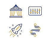Dj controller, Startup rocket and Circus tent icons set. Timeline sign. Vector
