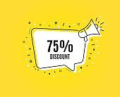 75% Discount. Sale offer price sign. Vector