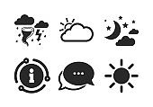 Cloud and sun icon. Storm symbol. Moon and stars. Vector