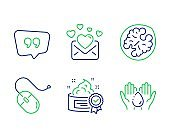Cream, Walnut and Computer mouse icons set. Quote bubble, Love mail and Wash hands signs. Vector