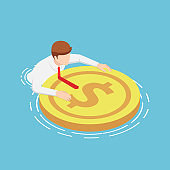 Isometric businessmen are floating on the water with rescue dollar buoy