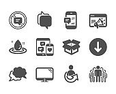 Set of Technology icons, such as Share, Stop talking, Smartphone notification. Vector