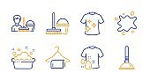 Clean t-shirt, Cleaning service and Wash t-shirt icons set. Dirty spot, Clean towel and Hand washing signs. Vector