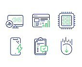 Cpu processor, Smartphone charging and Checklist icons set. Vector