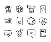 Set of Technology icons, such as Browser window, File settings, Text message. Vector