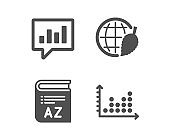 Vocabulary, Environment day and Analytical chat icons. Dot plot sign. Vector