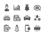 Set of Business icons, such as Graph chart, Smartphone protection, Taxi. Vector