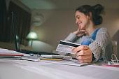 Teenager girl shopping online