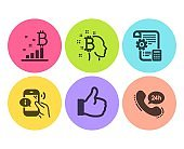 Bitcoin think, Like and Bitcoin graph icons set. Settings blueprint, Call center and 24h service signs. Vector