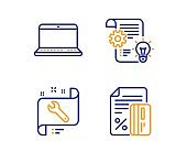 Cogwheel, Spanner and Notebook icons set. Credit card sign. Idea bulb, Repair service, Laptop computer. Vector
