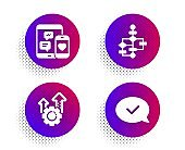 Seo gear, Block diagram and Social media icons set. Approved message sign. Vector