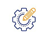 Settings gear line icon. Cogwheel with star sign. Edit working process. Vector