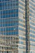 Glass facade of a modern office building