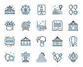 Amusement park line icons. Set of Carousels, Roller coaster and Circus. Vector