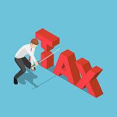 Isometric businessman cutting tax word by japanese katana sword