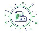 Business case with CV line icon. Portfolio sign. Vector