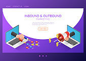 Isometric web banner businessman hand out from laptop with magnet and megaphone