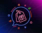 Coupons with Gifts line icon. Present box sign. Vector