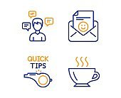 Conversation messages, Tutorials and Smile icons set. Coffee sign. Communication, Quick tips, Positive mail. Vector