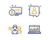 People talking, Bitcoin system and Developers chat icons set. Web analytics sign. Vector