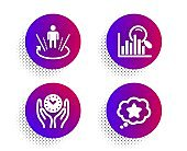 Augmented reality, Search and Safe time icons set. Loyalty star sign. Virtual reality, Analytics, Management. Vector