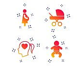 Maternity icons. Baby infant, pregnancy, buggy. Vector