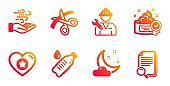 Heart, Cream and Wind energy icons set. Night weather, Water bottle and Repairman signs. Vector