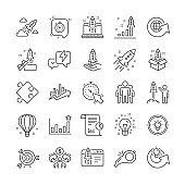 Startup line icons. Set of Launch Project, Business report and Target. Vector